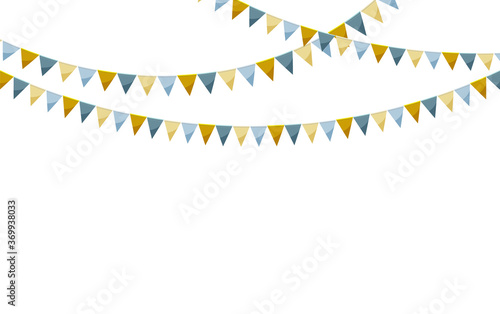 Canvastavla Paper bunting party flags isolated on white