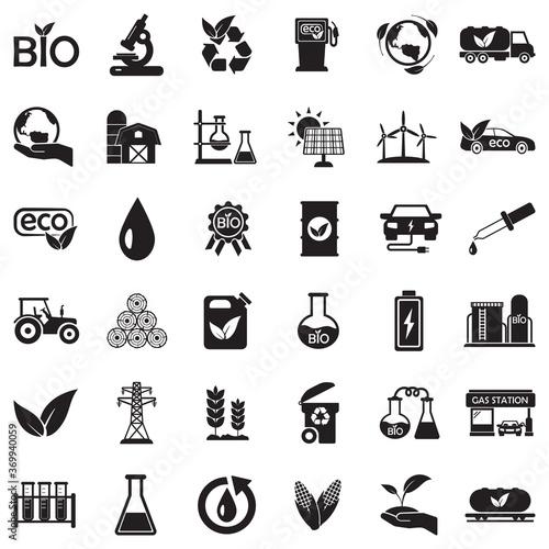 Fototapeta Bio Fuel Icons. Black Flat Design. Vector Illustration. obraz na płótnie