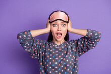 Photo Of Crazy Irritated Girl Cant Sleep Noise Close Cover Ears Hands Scream Shout Wear Eye Mask Dotted Sleepwear Isolated Over Violet Color Background