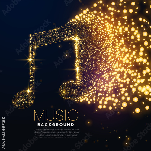 Tableau sur Toile music note made with glowing particles background design