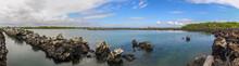 Panorama: Rocky Coast With Basalt Rocks At Galapagos Islands