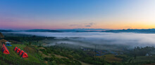 Landscape Panorama View Of Yun Lai Viewpoint In Pai Thailand