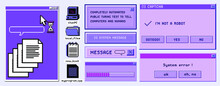 Old User Interface Windows, Retro Message Box With Buttons. Vaporwave And Retrowave Style Elements.