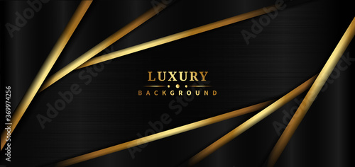 Obraz Abstract template black and golden triangle overlapping on black background luxury style. - fototapety do salonu