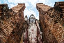 Buddha Statue In Sukhothai Historical Park, Thailand.