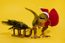 Christmas Dinosaur With Sledge...