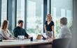 Leinwandbild Motiv Business people having casual discussion during meeting
