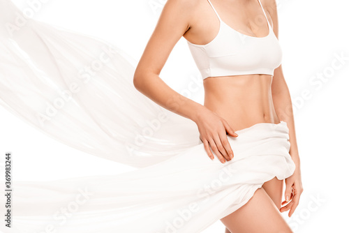 Fototapeta cropped view of woman in top covered with chiffon cloth isolated on white obraz na płótnie