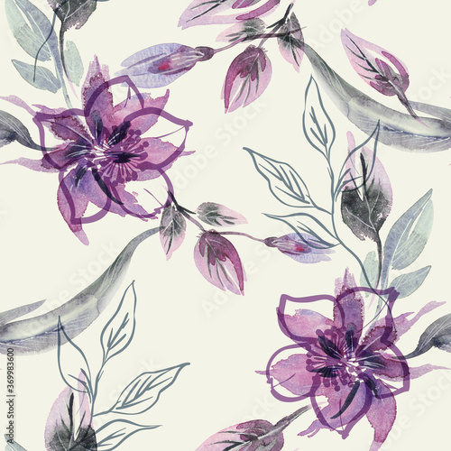 Tapeta fioletowa  floral-seamless-pattern-on-abstract-background-hand-painted-illustration