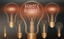 Conceptual Hand Writing Showing Remote Support. Concept Meaning Type Of Secure Service, Which Permits Representatives To Help Realistic Colored Vintage Light Bulbs, Idea Sign Solution