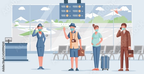 People in airport vector flat illustration Canvas Print