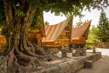 Traditional Bataknese Houses At Tomok, Samosir, Lake Toba, Indonesia