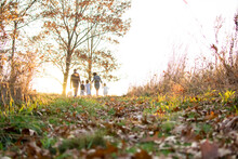 Family Walking In A Park In Autumn Day