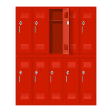 Red Metal Cabinets With One Open Door. Lockers In School Or Gym With Handles And Locks. Safe Box With Doors, Cupboard, And Compartment