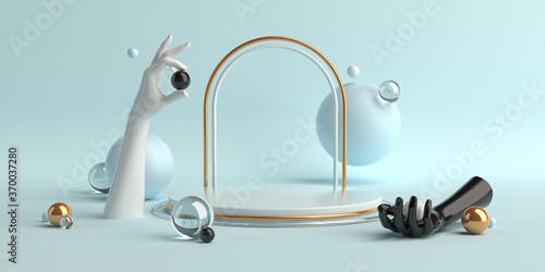 3d-illustration abstract geometric shapes scene minimal, design for cosmetic or Canvas Print