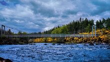 The Bridge Over The River Brora At The Ford With Gorse Flowering Along The Banks