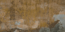 Distressed Yellow Brown Or Ochre Old Concrete Wall With Shabby Paint. Old Plastered Loft Wall, Long Web Banner.