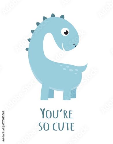 Obraz cute dinosaur isolated on white, vector illustration - fototapety do salonu