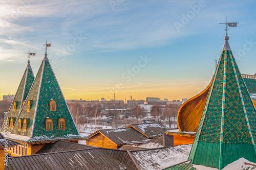 Fotografija Roof of the wooden palace of tsar Alexei Mikhailovich in the Kolomenskoye park,