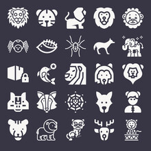 Set Of 25 Wolf Filled Icons