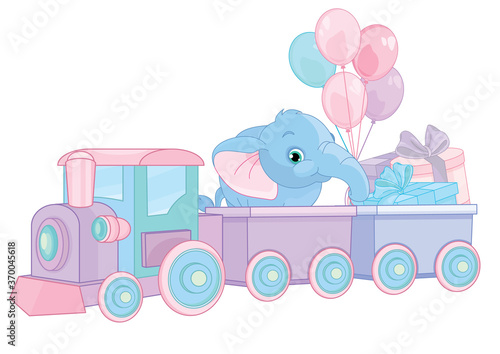 Fototapeta Happy birthday train with elephant and gifts