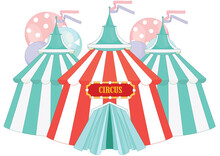 Vintage Circus Isolated On White Background