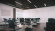 Modern Empty Classroom Organized For Social Distancing