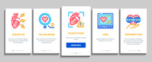 Hypertension Disease Onboarding Mobile App Page Screen Vector. Hypertension Ill And Treatment, Heart Research And Examination, Fitness Bracelet And Watch Illustrations