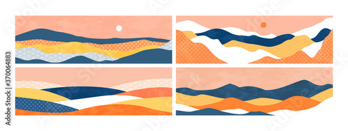 Obraz Abstract mountain landscape illustration set on isolated background. Horizontal nature environment banner with sunset and minimalist textures for travel brochure or summer design concept. - fototapety do salonu
