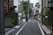 The old narrow steep street of the residential area in Tokyo Japan