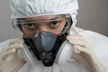 Portrait Of A Nurse Or Doctor With Personal Protection Equipment