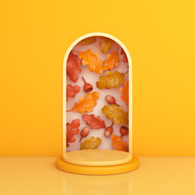 Podium Display For Halloween Or Autumn With Oak Leaf Acorn On Orange Background, Pedestal, Mock Up, Template. 3D Rendering Illustration.