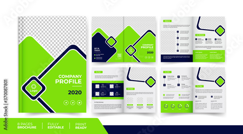 8 pages company business brochure design use for multipurpose business promotion Canvas Print