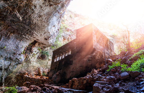 Heaven and hell sinkholes with a chapel in the Mountains - Mersin Province, Turkey Tapéta, Fotótapéta