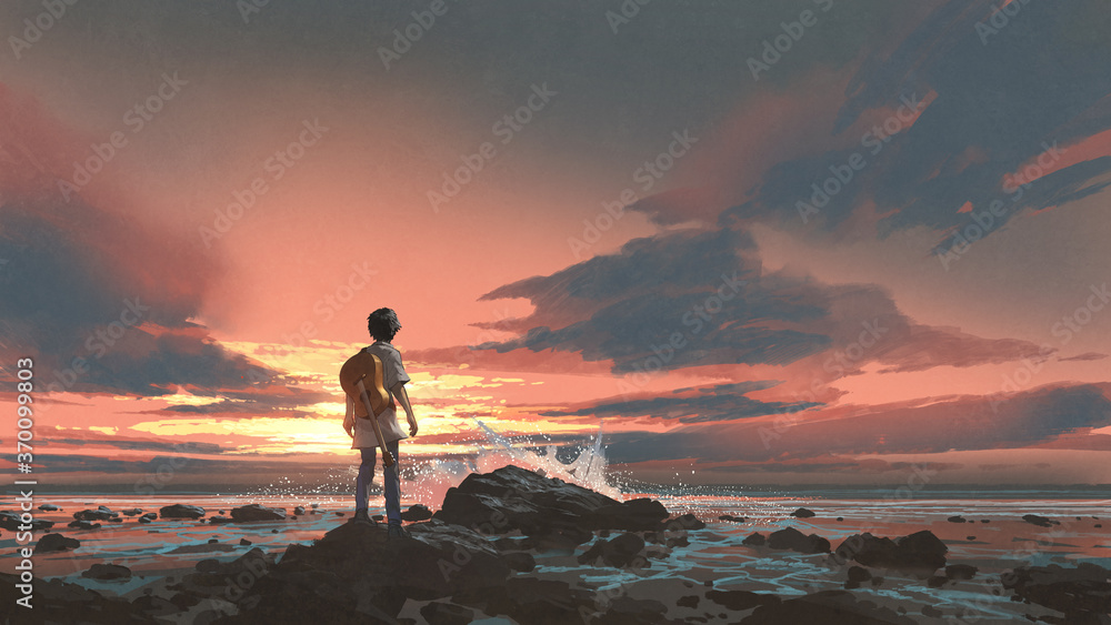 Fototapeta a boy standing with guitar against the sunset background, digital art style, illustration painting
