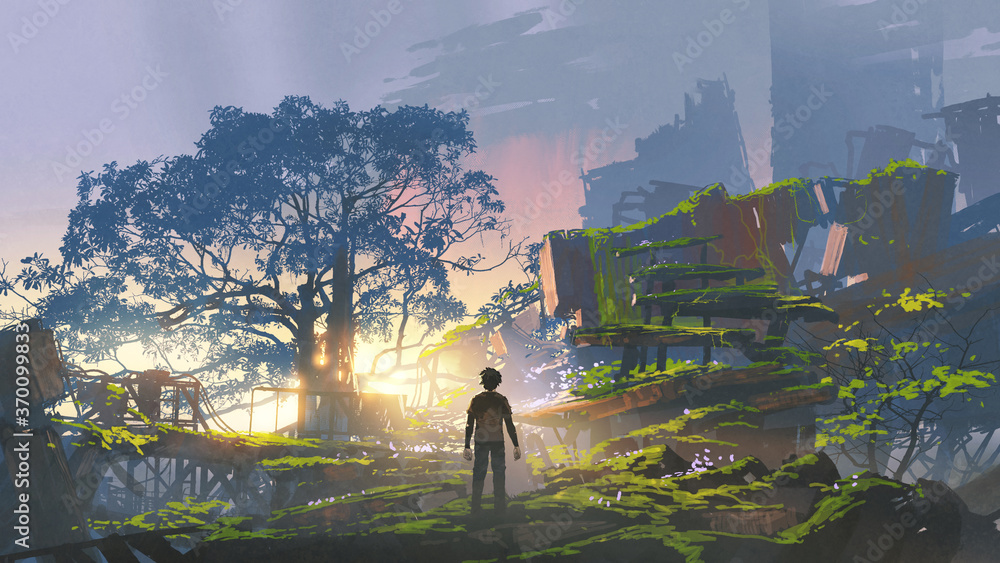 Fototapeta young man standing in the overgrown city at sunset, digital art style, illustration painting