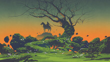 Horseman And Scary Tree In The Mysterious Landscape, Digital Art Style, Illustration Painting