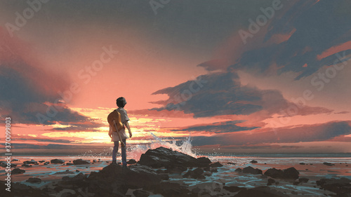 Fototapeta a boy standing with guitar against the sunset background, digital art style, illustration painting obraz