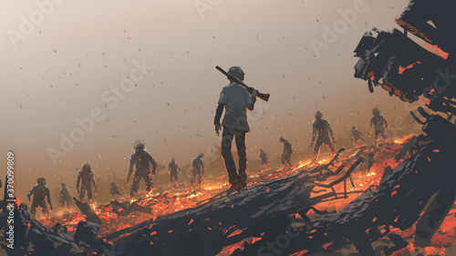 Fotografía the man facing a zombie group, digital art style, illustration painting