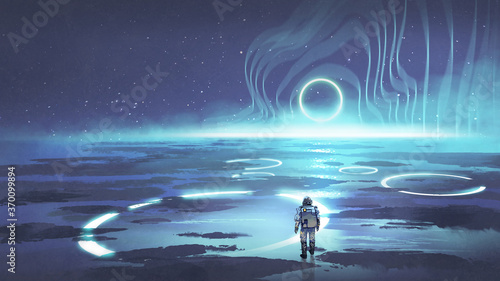 spaceman walking on planet with glowing blue ring light, digital art style, illustration painting