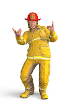 Smiling Firefighter Stands And Shows The Pointing Gesture With His Hands - Isolated On White Background - 3D Illustration