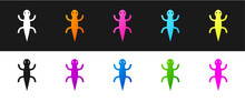 Set Lizard Icon Isolated On Bl...