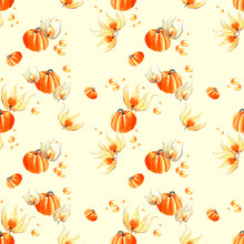 Delicate Watercolor Seamless Pattern For Autumn Theme