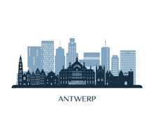 Antwerp Skyline, Monochrome Silhouette. Vector Illustration.