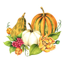 Watercolor Floral Design Card With Pumpkins And Flowers. Autumn Illustration.