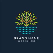 Tree Lake Logo Icon, River Tree Logo Circle Shape Design Vector Template