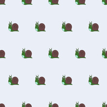 Seamless Patterns. Funny Green Snail. Snail Icon. Suitable For Backgrounds, Postcards, And Wrapping Paper. Vector.