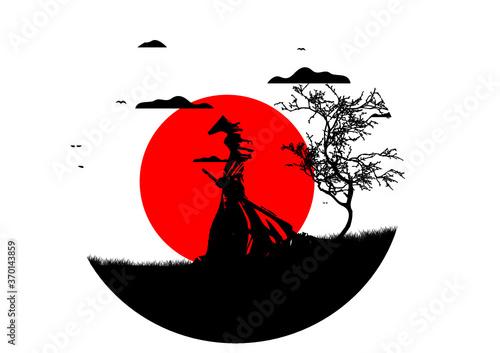 Photographie samurai al tramonto