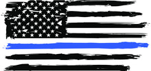 Thin Blue Line. Flag With Poli...