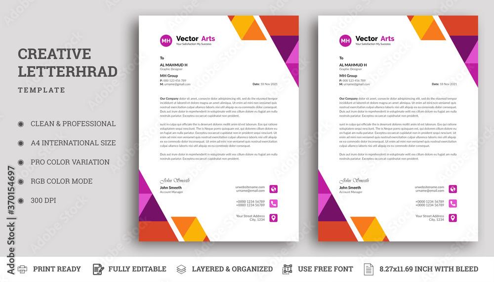 Fototapeta Letterhead Design Template with Colorful Elements